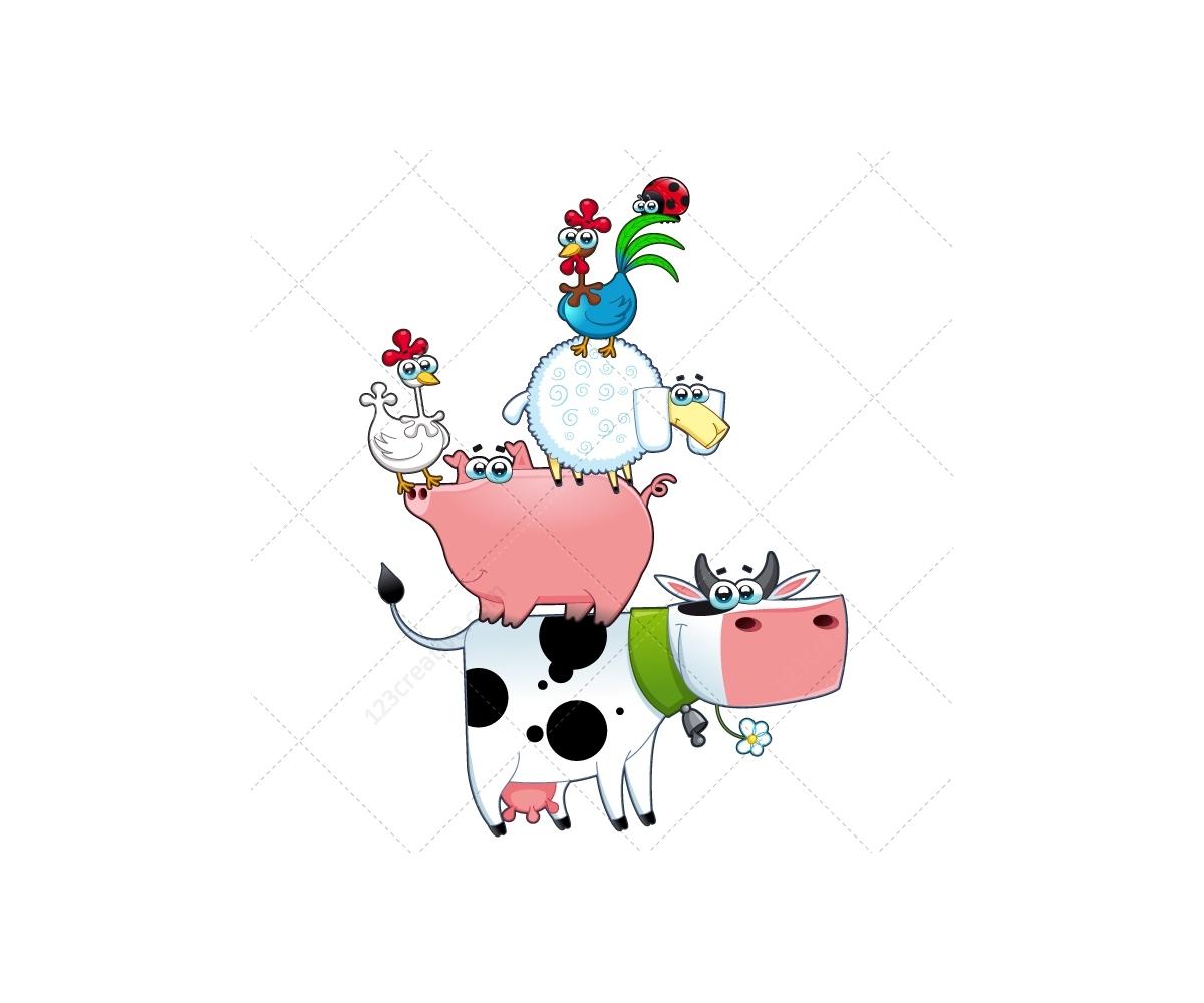 farm vector illustration megapack farmer dog cow horse sheep