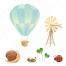 ladybird vector, ladybug vector, cartoon air balloon vector, snail vector, clover vector, windmill vector, fall leaf vector