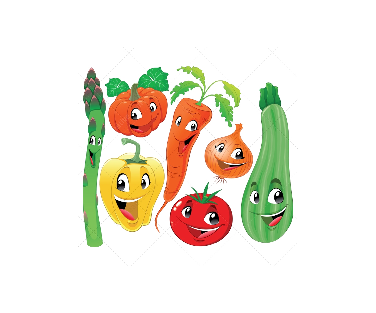 Vegetables And Fruit Cartoon