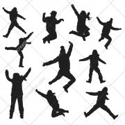 jumping people, jumping boy, jumping girl, jumping silhouette, people in silhouette, silhouette in a jump, boy silhouette in a j