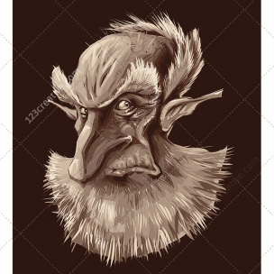 Mysterious old man portrait vector illustration