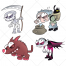scary zombies, horror, zombie vampire, scythe, poison, zombie skeleton, vector illustration, night background, wampire,
