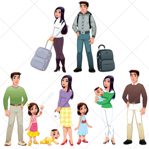 Happy family vector pack
