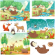 forest vector, animal vector pack, vector illustrations, cute animals vector background, buy vectors for commercial use