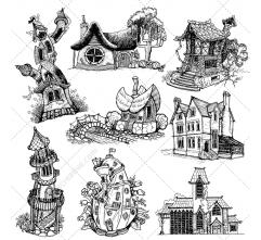 Fantasy houses vector pack
