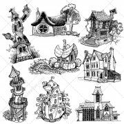 fantasy houses, fairy vector, fantasy house vector, fantasy vector pack buy, dwarf house, pumpkin house, scary villa vector