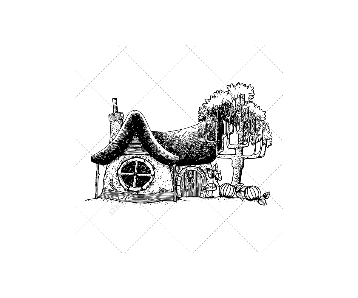 fantasy houses vector pack  u2013 buy professional hand drawn vectors  magic  mystery  scary  story