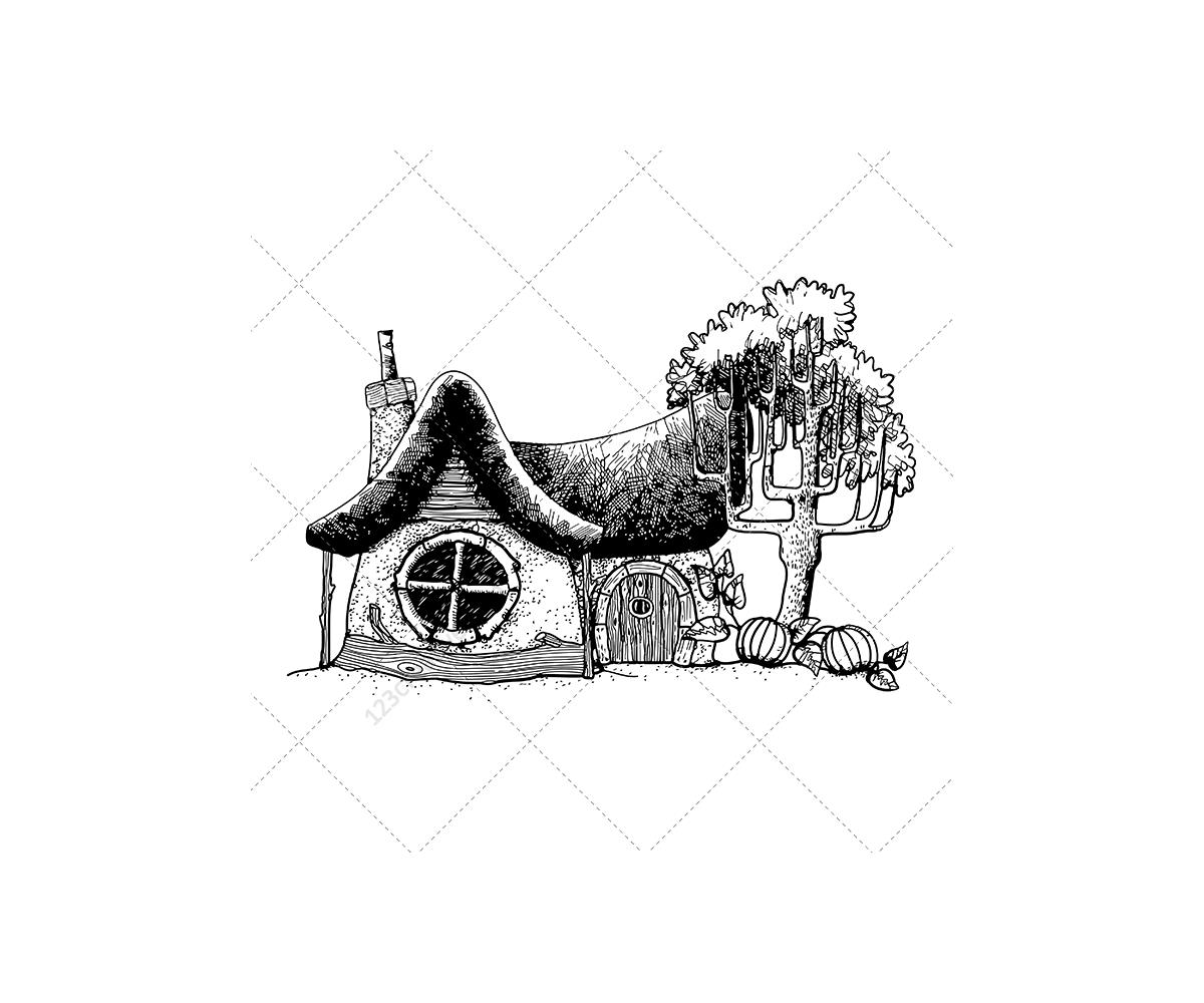 Fantasy Houses Drawing Fantasy House Vector Gnomes