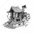 witch house vector, hag house, fantasy vector, hag house, hand drawn vector, magical house, magic vector, fairy tale vectors
