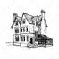 scary house vector, scary villa, ghost house vector, horror house vector, witch house, witches house, hand drawn house vector