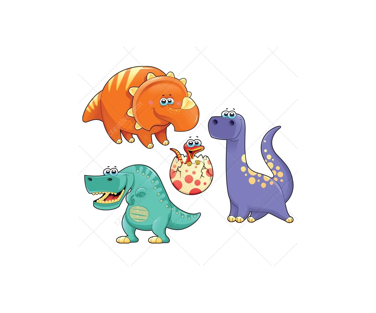 Dinosaur vector pack - animal vectors (triceratops, comic ...