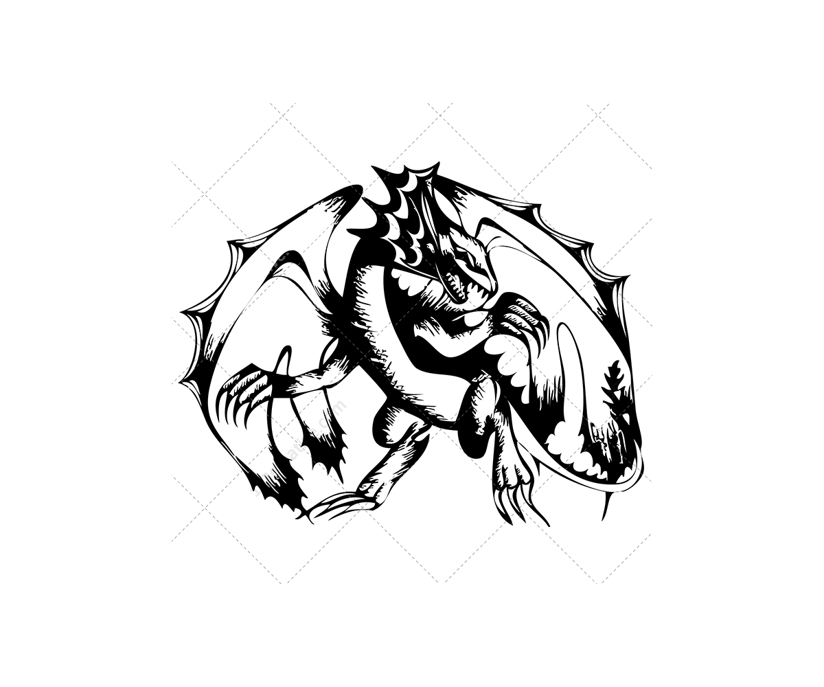 Sketch Dragon Vectors Original Realistic Dragons For Graphic Design Dragon Vector Art