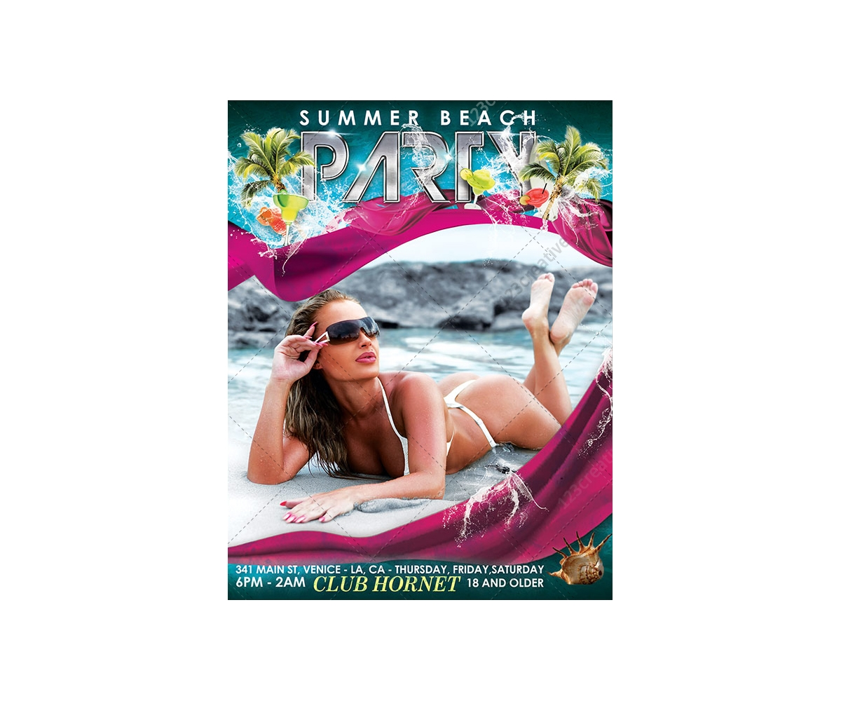 Beach Party Flyer Template Psd Summer