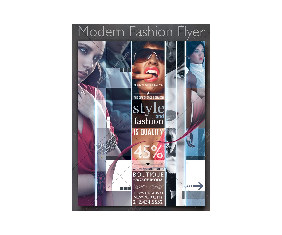 Modern Fashion Flyer Collage Template Creative Poster