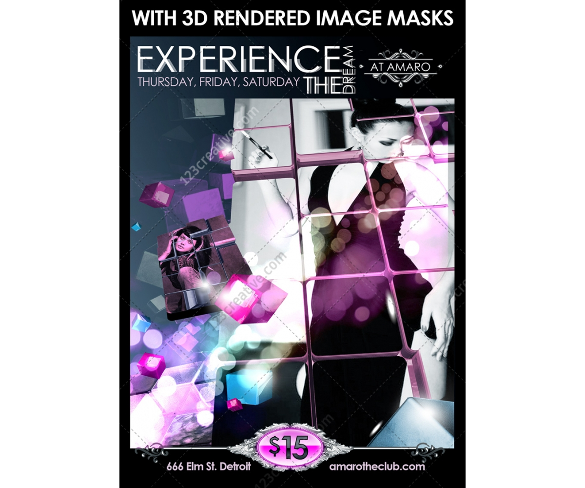 3d squares nightclub poster template 3d flyer template modern