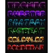 3d photoshop styles, glossy styles pack, disco poster text, dubstep party flyer text, neon text effect, buy layer styles