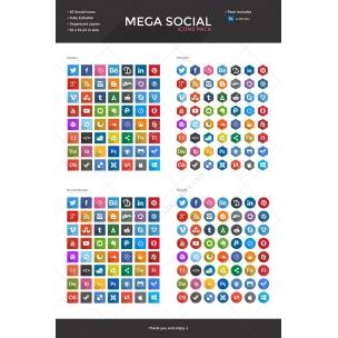 Flat Social Icons - Long Shadows