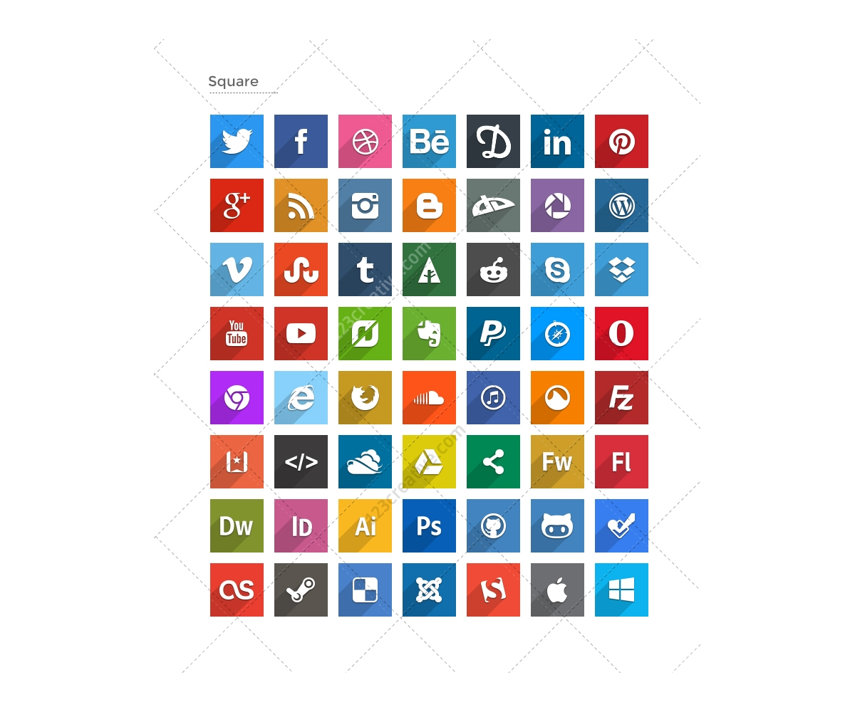flat social icons long shadows � buy social media icons