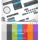 user interface, web elements, orange, green, blue, purple, grey, red, black