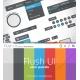 user interface, web elements, orange, green, blue, purple, grey, red, black