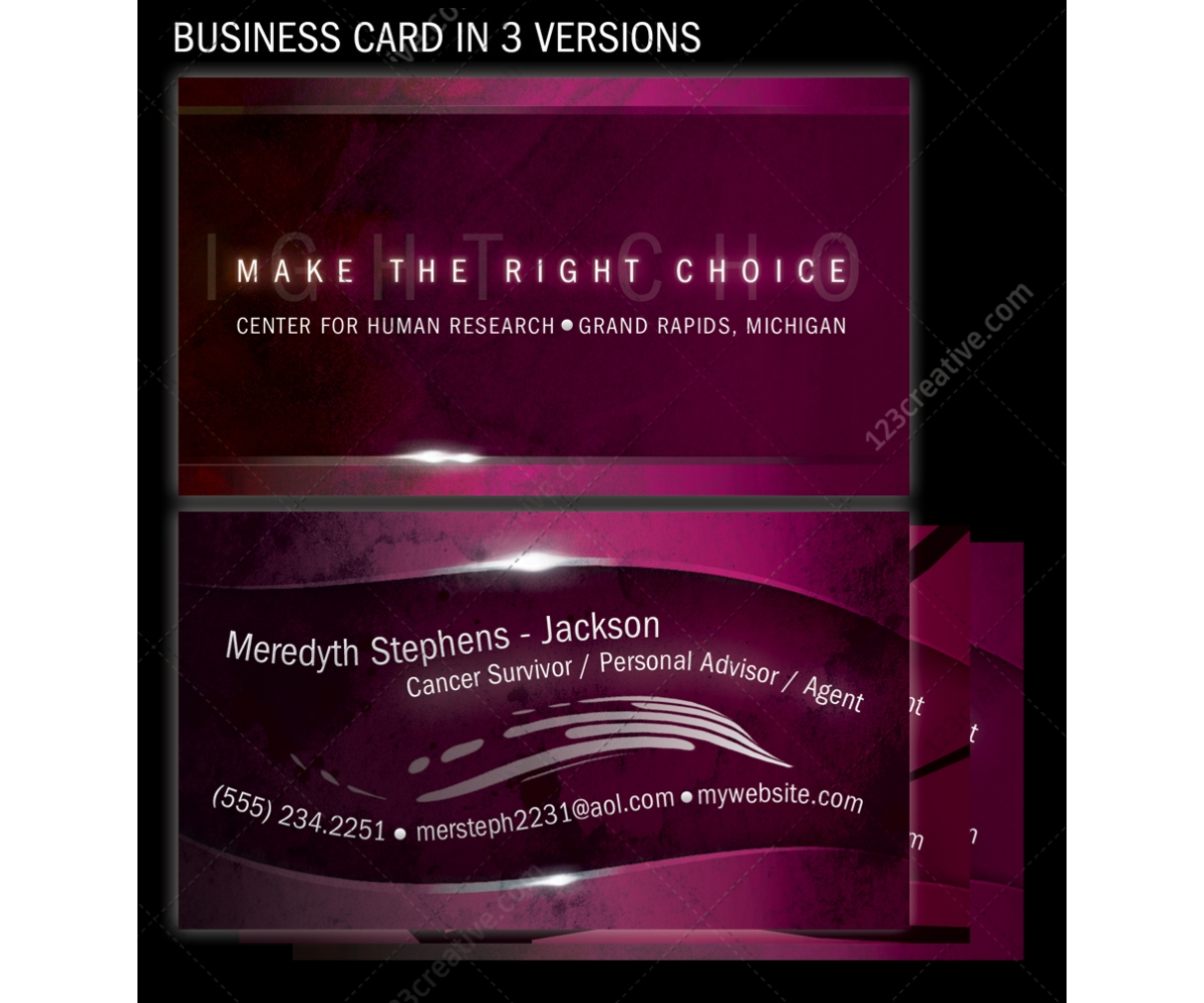 Purple business card in 3 versions 123creativecom for Purple business cards