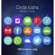 circle icons, modern icon set, social media icons