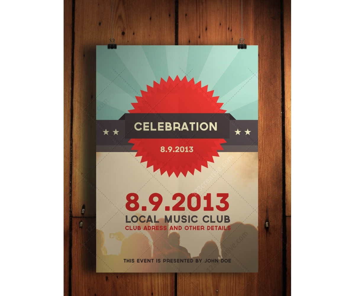 Connu Celebration flyer - psd template. Retro, flat, modern design  XQ34