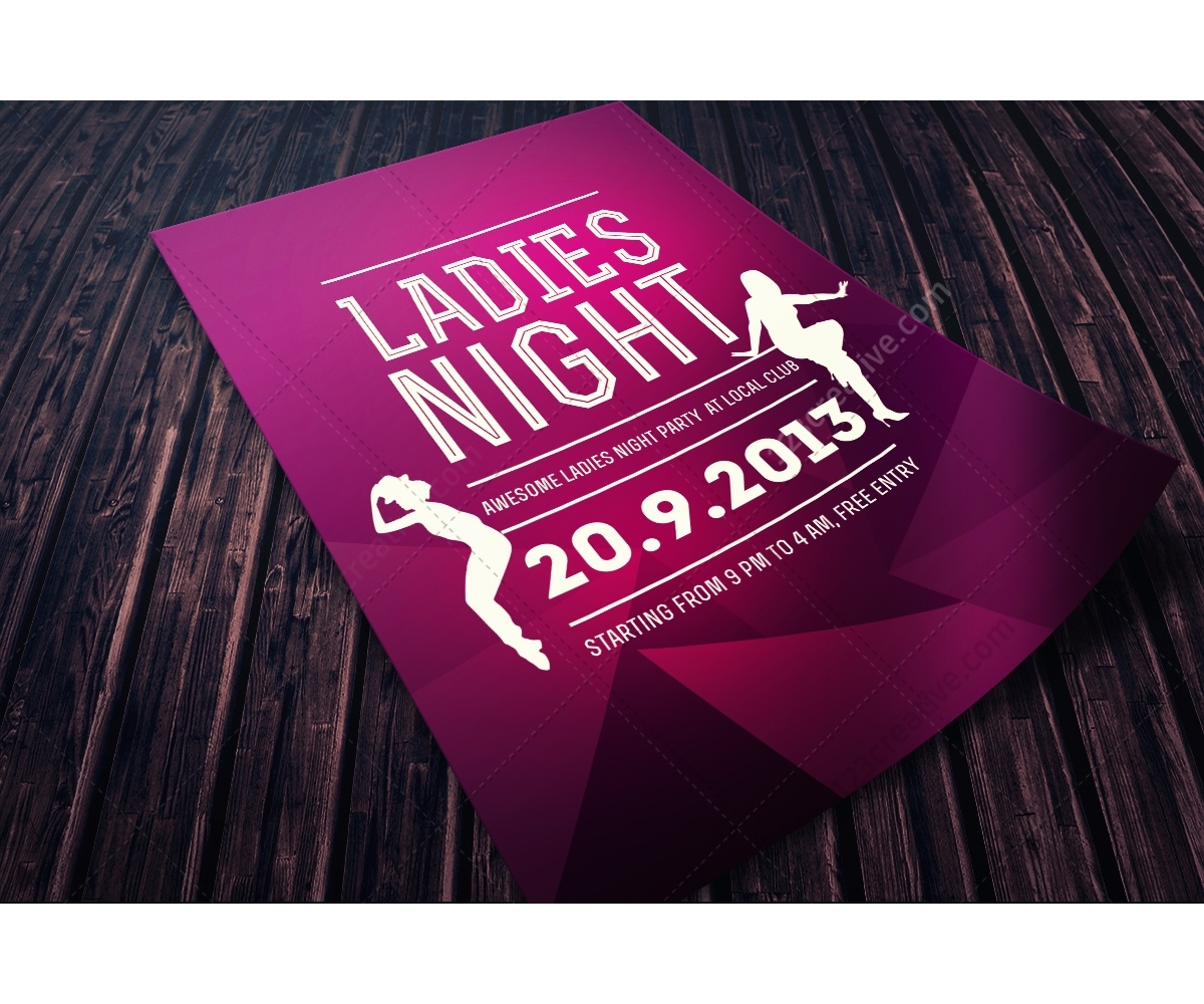 Ladies night flyer template - psd template for music club ...