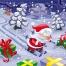 Christmas Santa Claus vector, Cartoon snowy landscape, Santa Claus with gifts, Christmas card vector