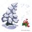 snowy tree vector, gift vector
