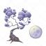 tree vector, moon vector