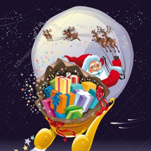 Magic night with Santa Claus - vector illustration