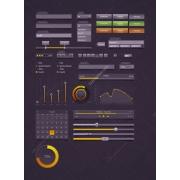 user interface, orange, green, grey, yellow
