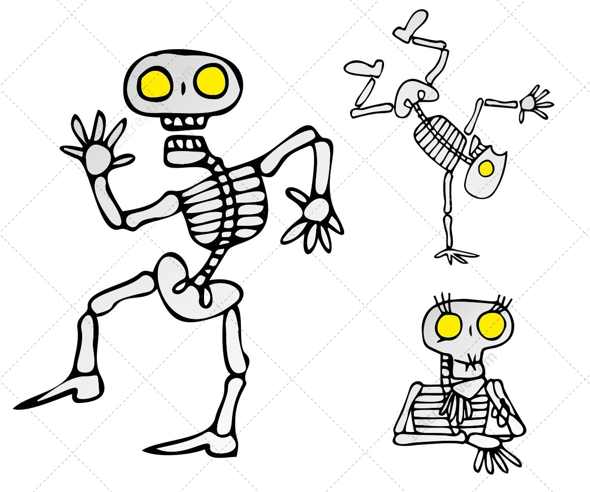 Skeleton Vector Pack Royalty Free Vectors For Halloween