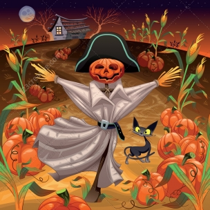Scarecrow in a field vector illustration