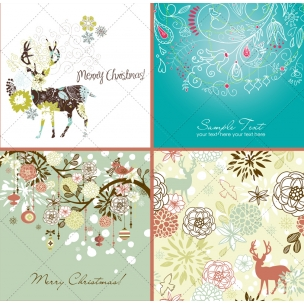 30 Floral Christmas vectors in pack