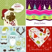 Funny colourful Christmas motives, Santa claus, trees, Christmas dog