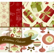 seamless snowflakes patterns, vintage, Christmas presents, decorations