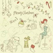 Sketch Merry Christmas mix colour vector