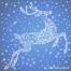 Christmas snow reindeer blue card