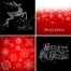 Black and red ornamental Merry Christmas cards, reindeer, snowflakes