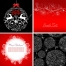 Black and red ornamental christmas cards, balls, flowers, snowflakes