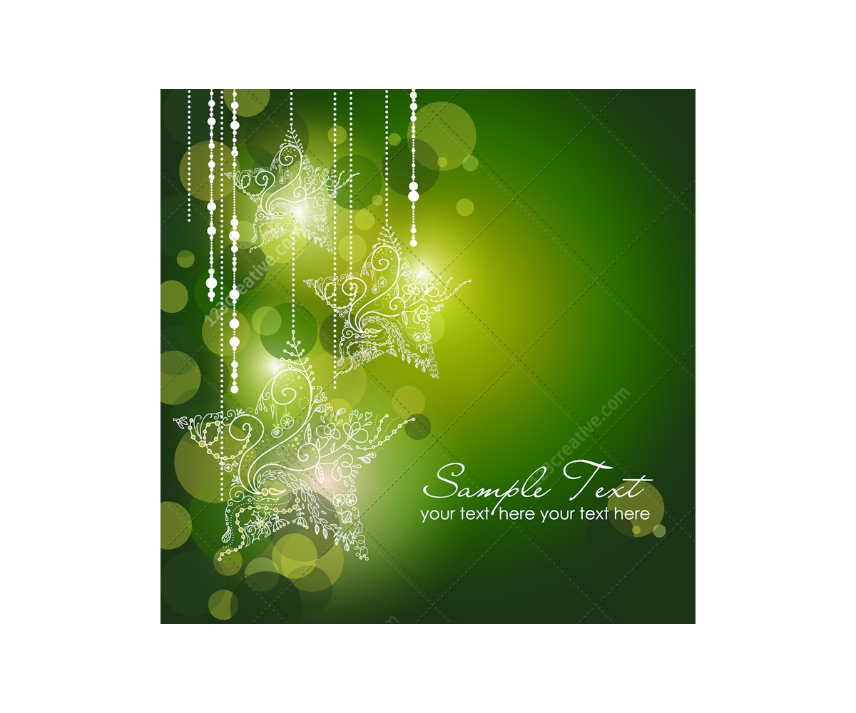 christmas ornamental stars green background christmas snow reindeer blue card