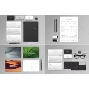 Stationery template, Invoice, Letterhead, Business Cards, Folder, Envelope DL, Postcards