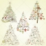 Vintage Christmas tree motive vectors