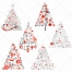 Red, black and white Christmas tree vintage motive vectors