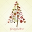 Soft colors vintage Christmas tree with balls vector