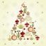 Soft colors vintage Christmas tree with decorations vector