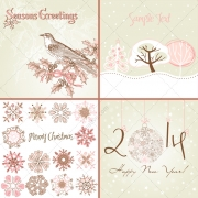 Vintage winter holidays cards, snowflakes, Happy New Year card
