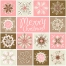 Vintage Christmas winter snowflakes in soft colors